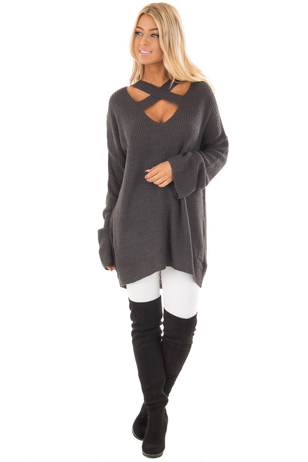Charcoal Oversized Sweater with Criss Cross V Neck front full body