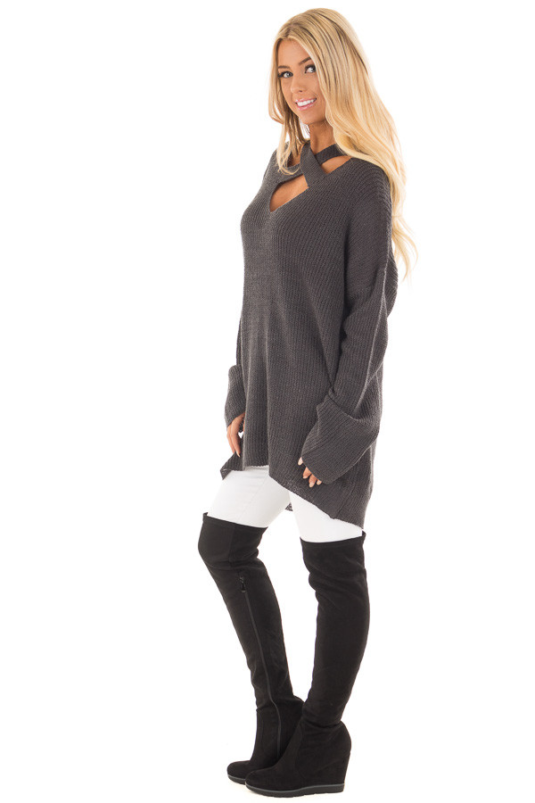 Charcoal Oversized Sweater with Criss Cross V Neck side full body