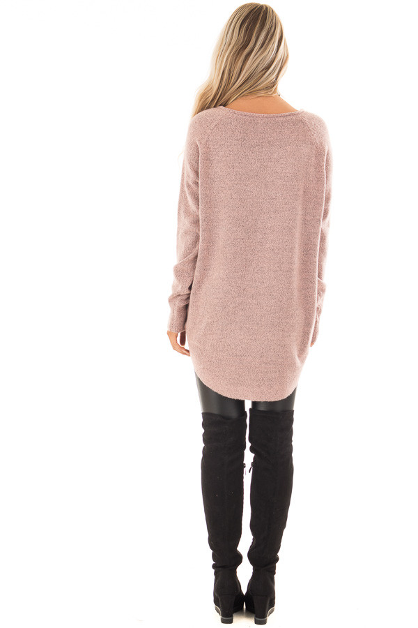 Dusty Rose Two Tone Soft Knit Sweater with Rounded Hem back full body