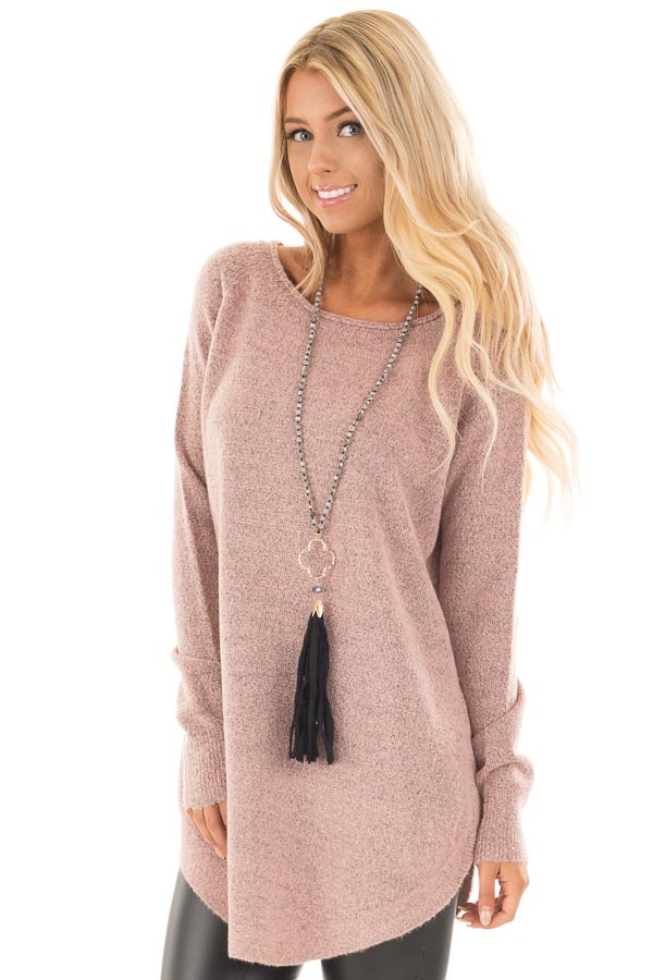 Dusty Rose Two Tone Soft Knit Sweater with Rounded Hem front close up