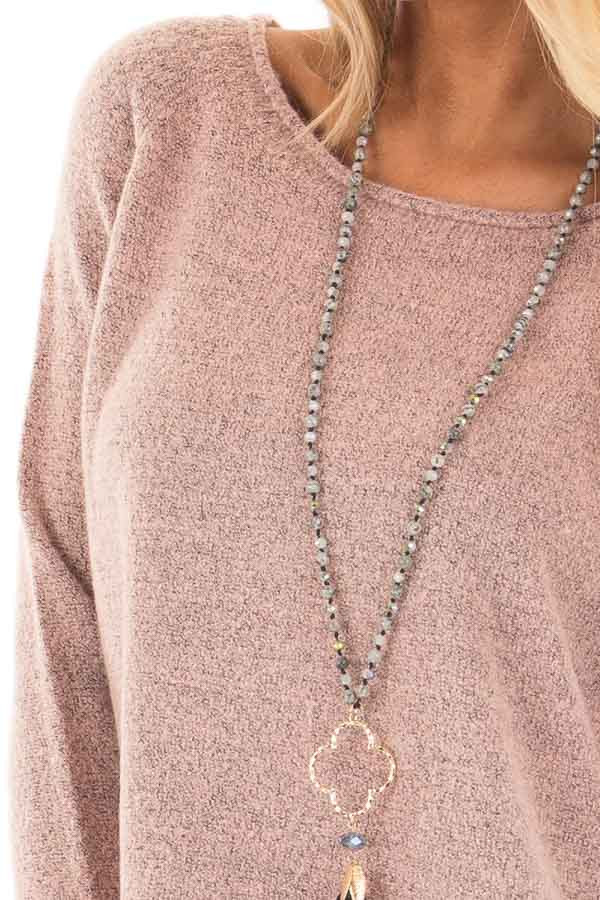 Dusty Rose Two Tone Soft Knit Sweater with Rounded Hem detail
