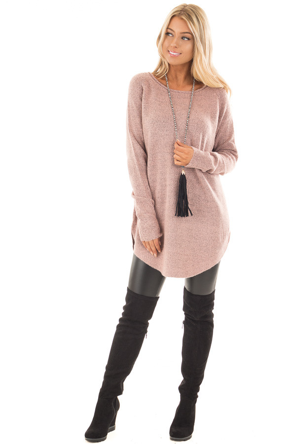 Dusty Rose Two Tone Soft Knit Sweater with Rounded Hem front full body