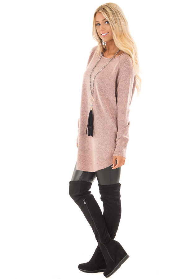 Dusty Rose Two Tone Soft Knit Sweater with Rounded Hem side full body