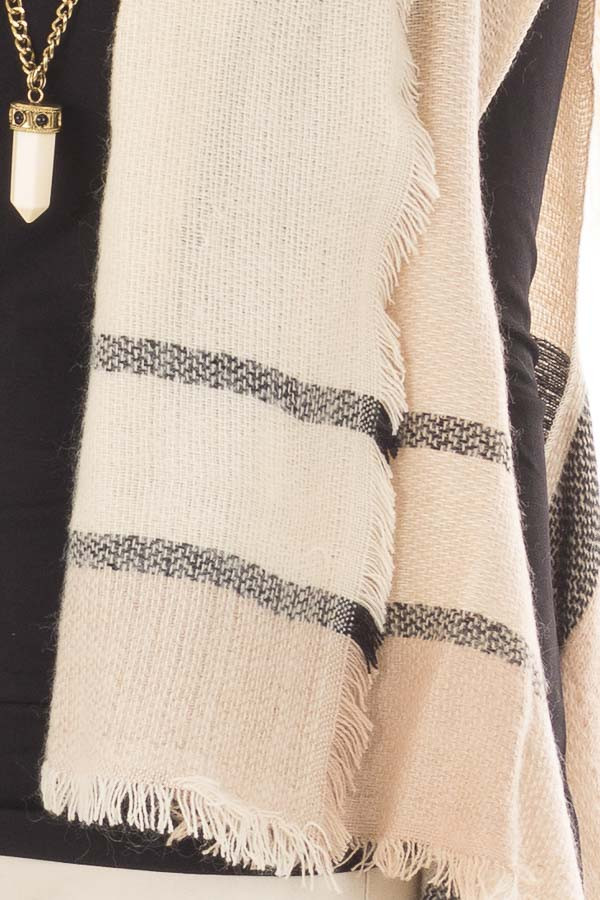 Beige Block Plaid Blanket Style Sleeveless Cardigan detail