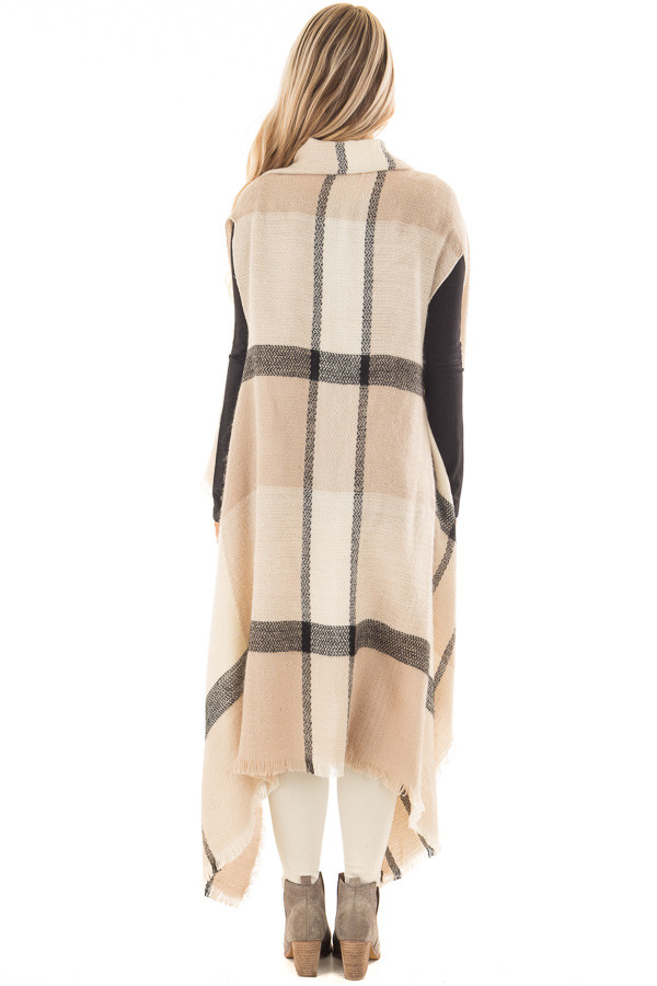 Beige Block Plaid Blanket Style Sleeveless Cardigan back full body