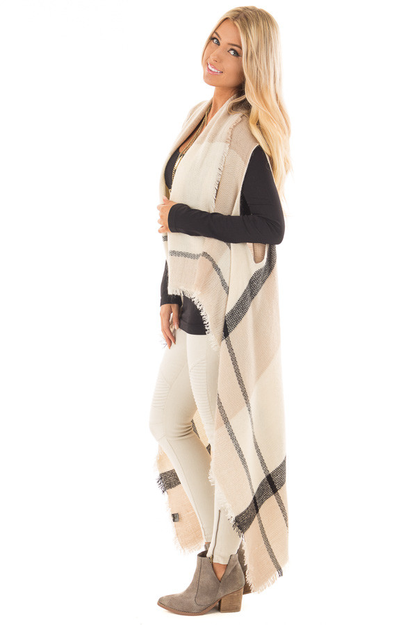 Beige Block Plaid Blanket Style Sleeveless Cardigan side full body