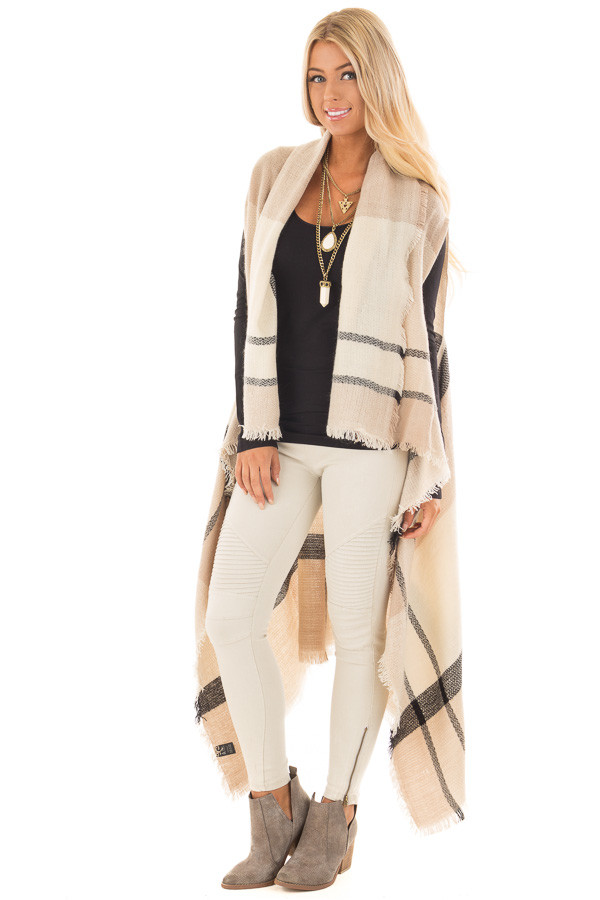 Beige Block Plaid Blanket Style Sleeveless Cardigan front full body