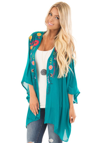 Turquoise Kimono with Detailed Colorful Embroidery front close up