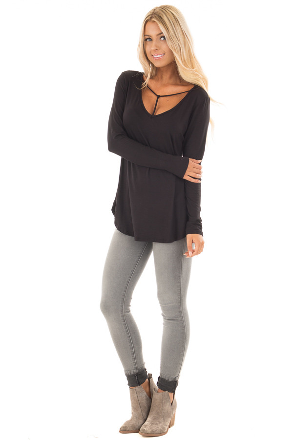 Black Long Sleeve Top with T Strap Neckline Detail front full body