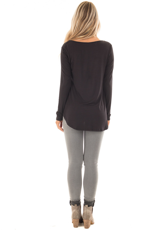 Black Long Sleeve Top with T Strap Neckline Detail back full body