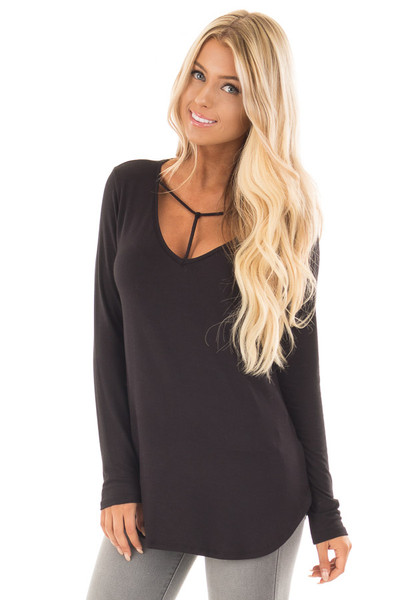 Black Long Sleeve Top with T Strap Neckline Detail front close up