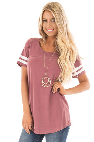 Brick Scoop Neck Tunic Tee with Striped Sleeve Detail front close up
