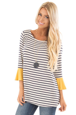 Navy and Oatmeal Striped Top with Mustard Contrast front close up