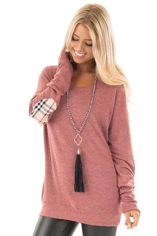 Rose Soft Two Tone Long Sleeve Top with Plaid Elbow Patches front close up