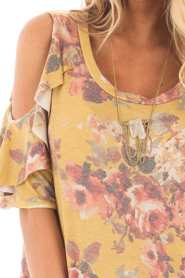 Mustard Faded Floral Print Ruffled Cold Shoulder Tee detail