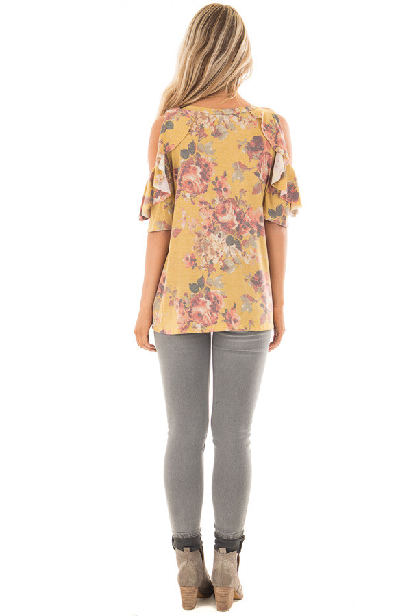 Mustard Faded Floral Print Ruffled Cold Shoulder Tee back full body