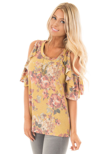 Mustard Faded Floral Print Ruffled Cold Shoulder Tee front close up