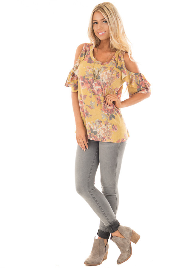 Mustard Faded Floral Print Ruffled Cold Shoulder Tee front full body