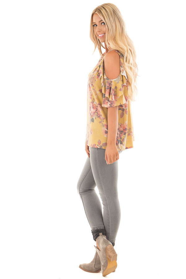 Mustard Faded Floral Print Ruffled Cold Shoulder Tee side full body