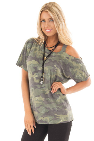 Olive Camo Print Cold Shoulder Tee with Distressed Details front close up