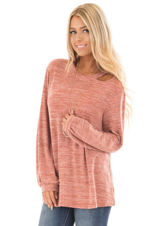Rust Two Tone Long Sleeve Top with Cut Out Neckline front close up