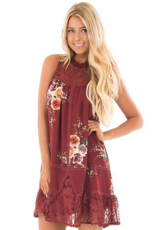 Burgundy Floral Mock Neck Dress with Keyhole Back front close up