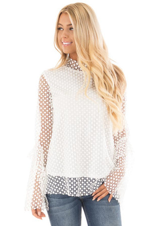 White Crochet Blouse with Sheer Ruffle Sleeves front close up
