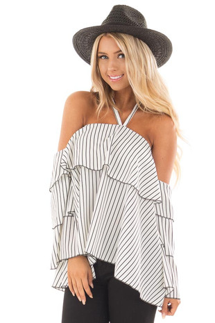 Ivory and Black Striped Off the Shoulder Ruffle Blouse front close up