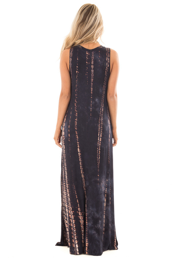 Navy and Taupe Tie Dye Maxi Dress with Hidden Pockets back full body