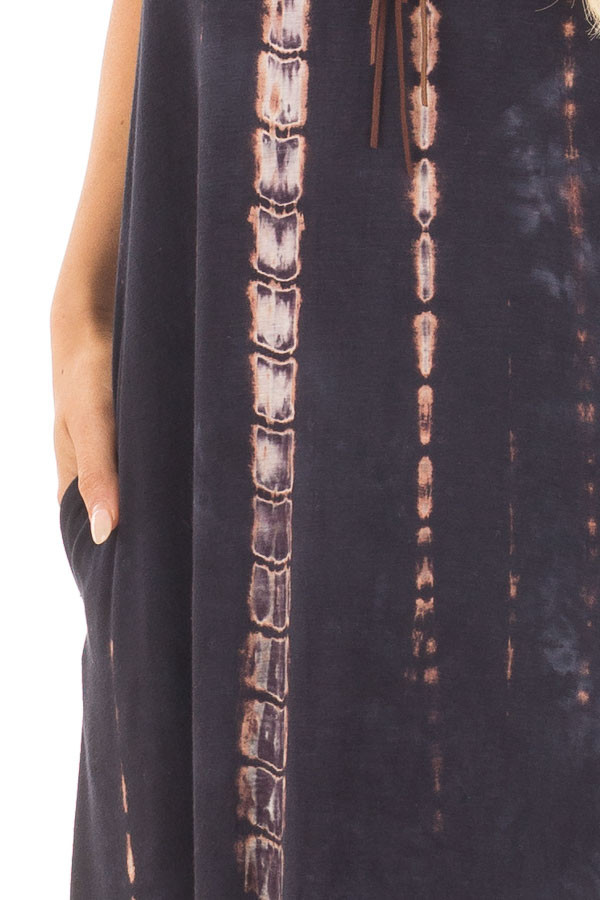Navy and Taupe Tie Dye Maxi Dress with Hidden Pockets detail