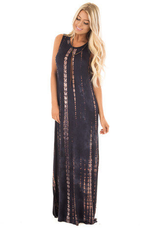 Navy and Taupe Tie Dye Maxi Dress with Hidden Pockets front full body