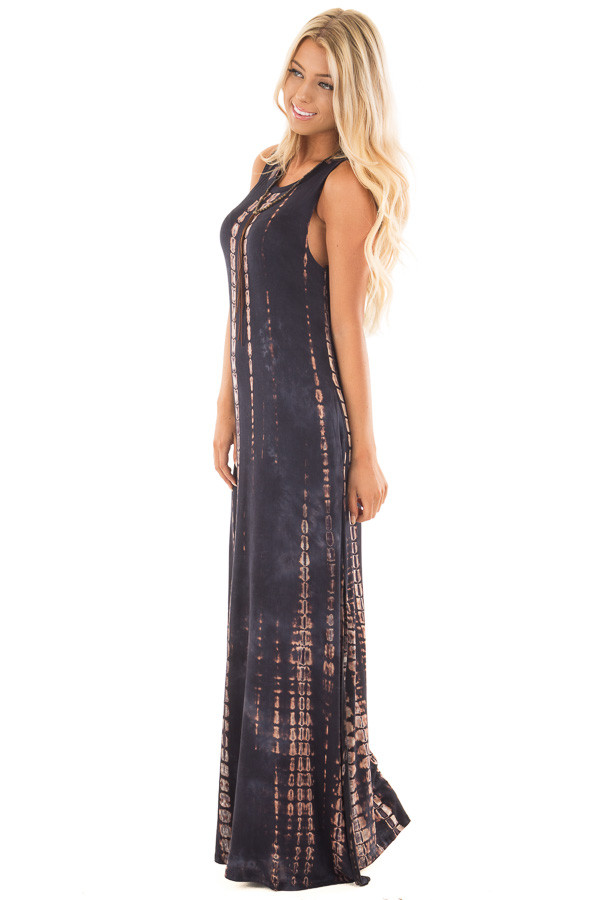 Navy and Taupe Tie Dye Maxi Dress with Hidden Pockets side full body