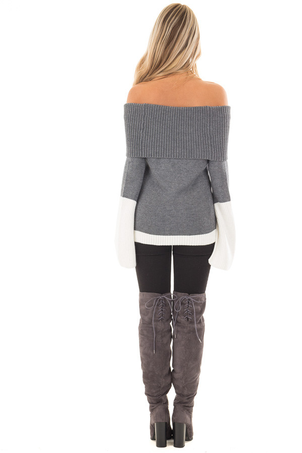 Charcoal and White Colorblock Off the Shoulder Knit Sweater back full body