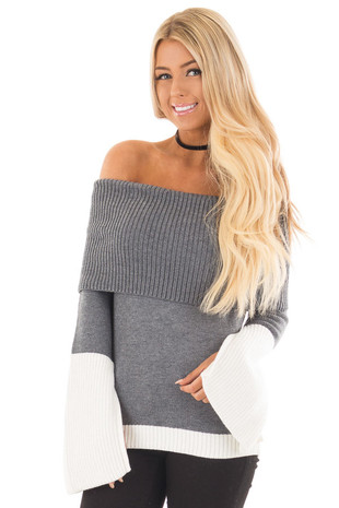 Charcoal and White Colorblock Off the Shoulder Knit Sweater front close up