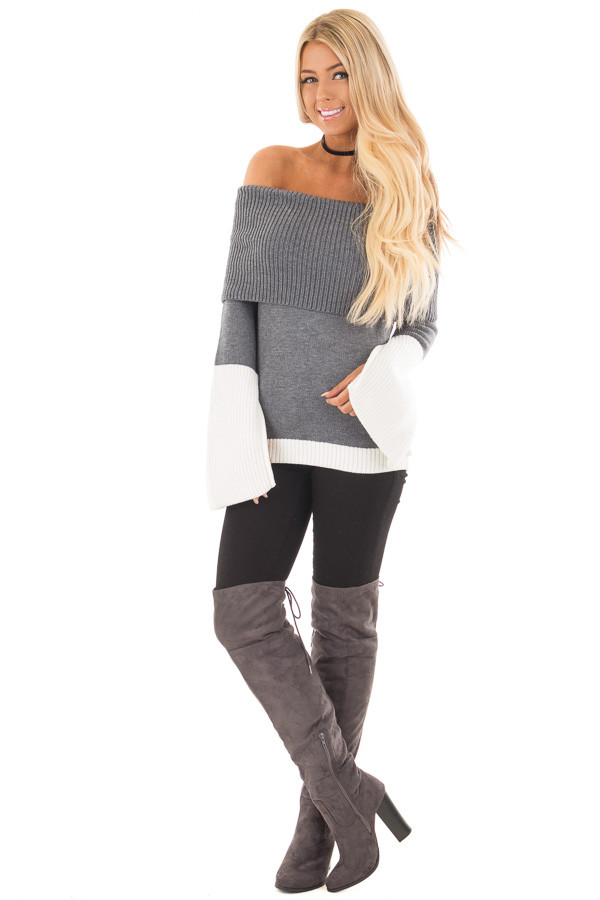 Charcoal and White Colorblock Off the Shoulder Knit Sweater front full body