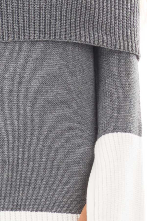 Charcoal and White Colorblock Off the Shoulder Knit Sweater detail