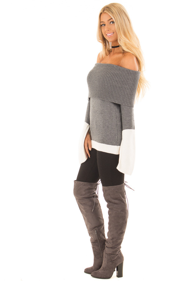 Charcoal and White Colorblock Off the Shoulder Knit Sweater side full body