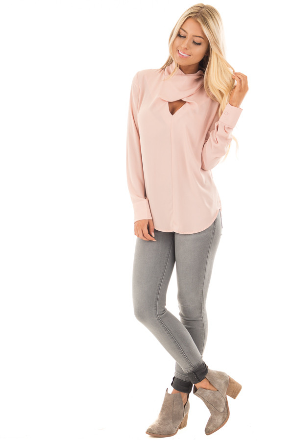 Blush Crossed Keyhole Turtleneck Long Sleeve Top front full body