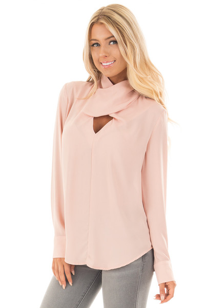 Blush Crossed Keyhole Turtleneck Long Sleeve Top front close up