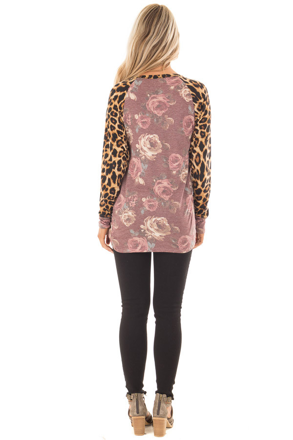 Burgundy Faded Floral Print Twist Tee with Leopard Contrast back full body