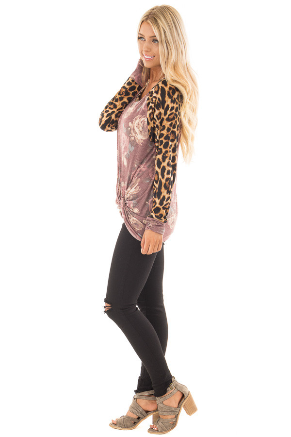 Burgundy Faded Floral Print Twist Tee with Leopard Contrast side full body