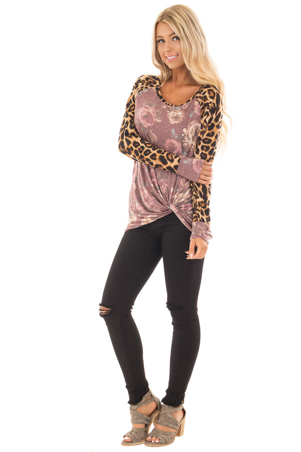 Burgundy Faded Floral Print Twist Tee with Leopard Contrast front full body