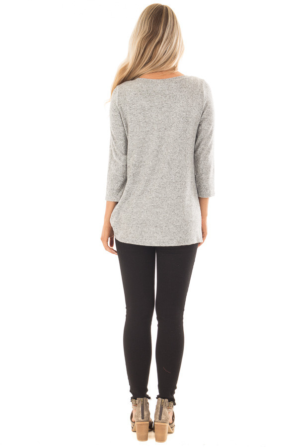 Heather Grey 3/4 Sleeve Top with Knotted Hem Detail back full body