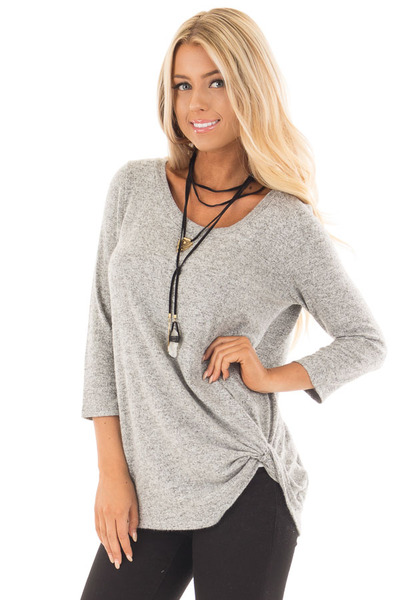 Heather Grey 3/4 Sleeve Top with Knotted Hem Detail front close up