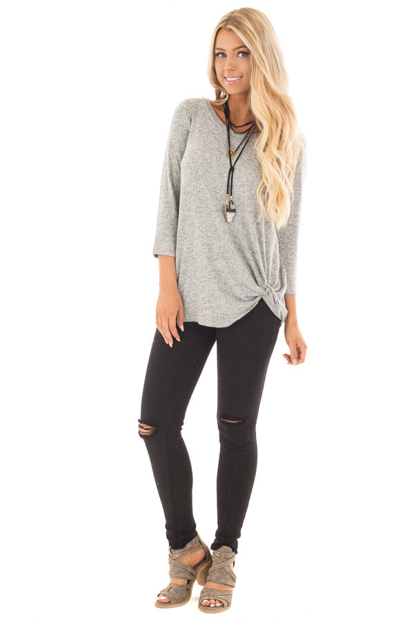 Heather Grey 3/4 Sleeve Top with Knotted Hem Detail front full body