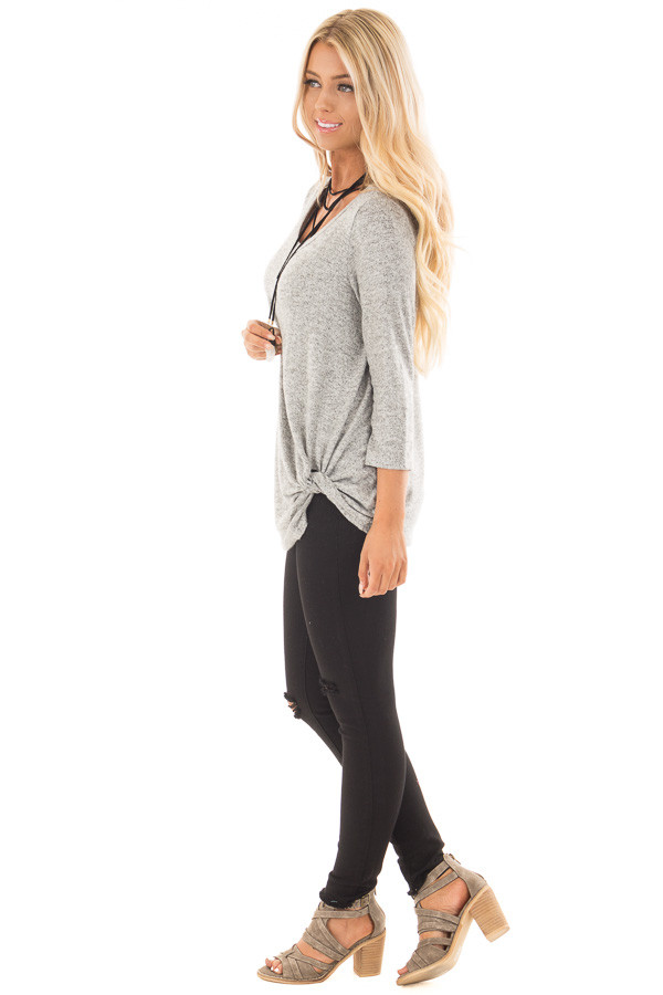 Heather Grey 3/4 Sleeve Top with Knotted Hem Detail side full body