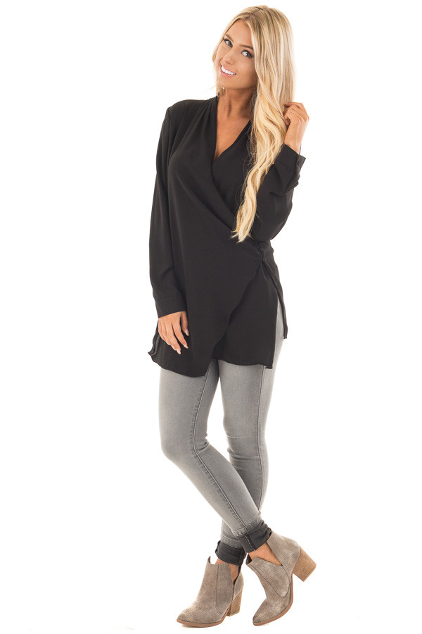 Black Asymmetrical Wrap Top with Button Detail front full body