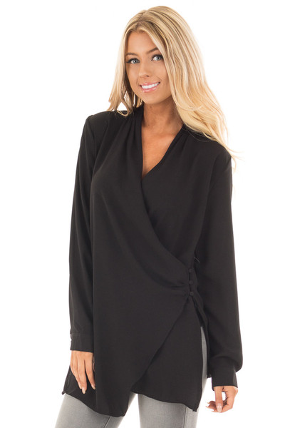 Black Asymmetrical Wrap Top with Button Detail front close up