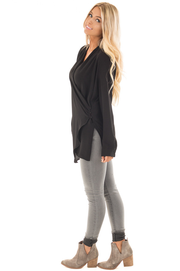 Black Asymmetrical Wrap Top with Button Detail side full body