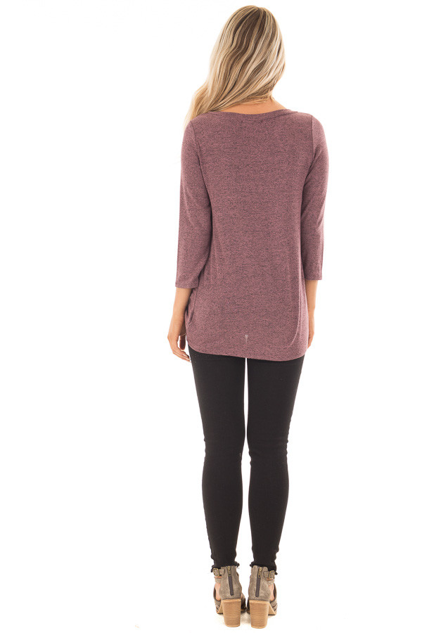 Mauve 3/4 Sleeve Top with Knotted Hem Detail back full body